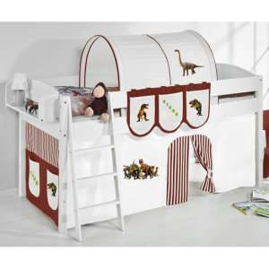 Lilla Children Bed In White With Dinosaur Brown Curtains