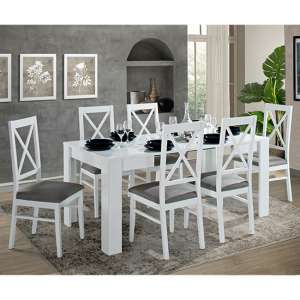 Idea Extending White Gloss Dining Table With 6 Drent Chairs