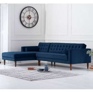 Idrion Velvet Left Facing Corner Chaise Sofa In Blue