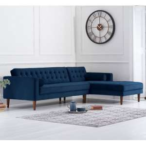 Idrion Velvet Right Facing Corner Chaise Sofa In Blue