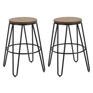 Ikon Black Metal Hairpin Leg Bar Stool In Pair With Wooden Seat