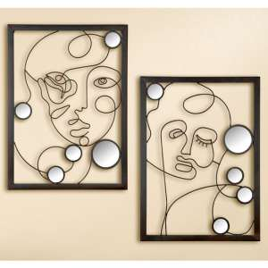 Illustration Metal Set Of 2 Wall Art In Brown
