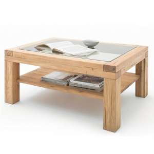 Imago Contemporary Glass Coffee Table Rectangular In Wild Oak