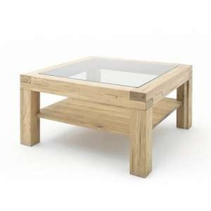 Imago Contemporary Glass Coffee Table Square In Wild Oak
