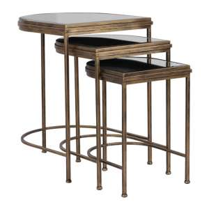 India Glass Nesting Tables In Antique Brushed Gold