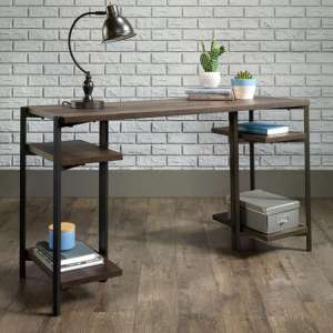 Industrial Style Laptop Desk In Smoked Oak With 4 Storage Shelve