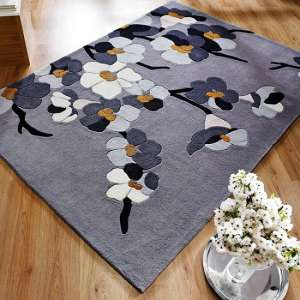 Infinite Blossom Oblong Grey Rug