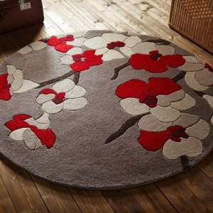 Infinite Blossom Round Red Rug