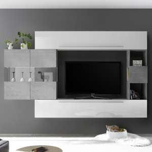 Infra Entertainment Unit In White Gloss And Cement Effect