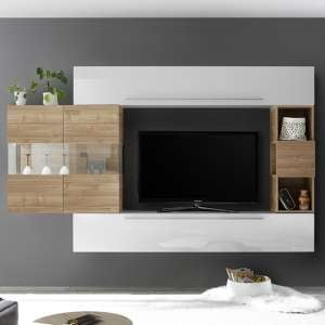 Infra White High Gloss Entertainment Unit In Stelvio Walnut