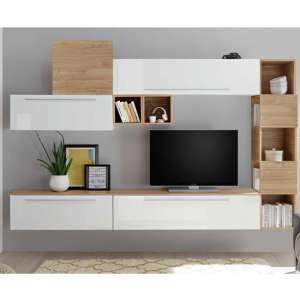 Infra White Gloss Wall TV Unit And Shelves In Stelvio Walnut