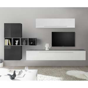 Infra Wall TV Unit And Shelves In White And Grey Gloss