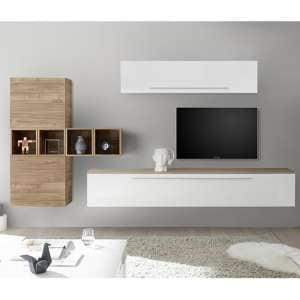 Infra Wall TV Unit And Shelves In White Gloss And Stelvio Walnut