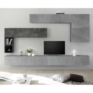 Infra Large Entertainment Unit In White High Gloss And Cement