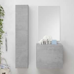 Infra Bathroom Furniture Set In Cement Effect With Storage Unit
