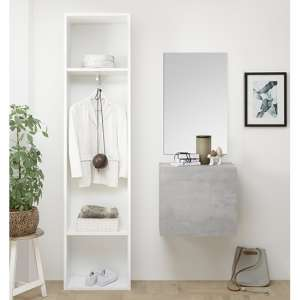 Infra Bathroom Furniture Set In Matt White And Cement Effect