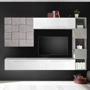 Infra White High Gloss Large Entertainment Unit In Cement Effect
