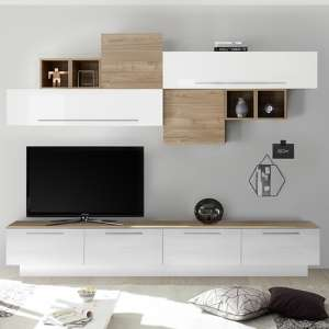 Infra White Gloss Large Entertainment Unit In Stelvio Walnut