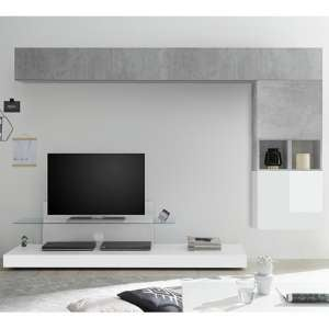Infra Glass Shelf TV Stand In White Gloss And Cement Effect