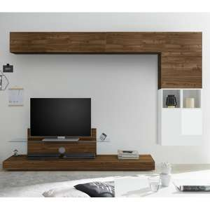 Infra Glass Shelf TV Stand In White Gloss And Dark Walnut