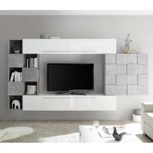 Infra White Gloss Wall Entertainment Unit In Cement Effect