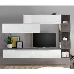 Infra Wooden Wall Entertainment Unit In White Gloss And Oxide