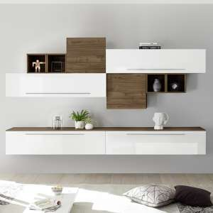 Infra Entertainment Unit In White High Gloss And Dark Walnut