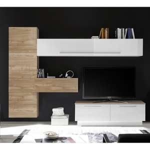Infra Storage Unit TV Stand In White Gloss And Stelvio Walnut