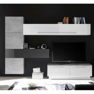Infra Storage Unit TV Stand In White And Grey High Gloss