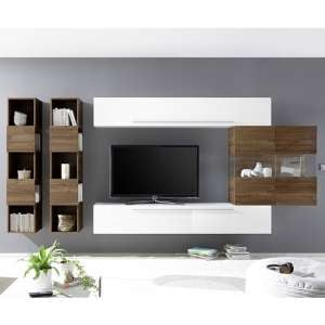 Infra Wall TV Unit And Shelves In Dark Walnut And White Gloss