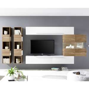 Infra Stelvio Walnut Wall TV Unit And Shelves In White Gloss