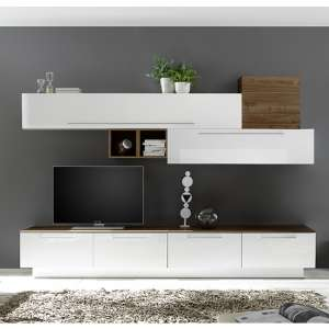 Infra TV Stand With 4 Drawers In White Gloss And Dark Walnut