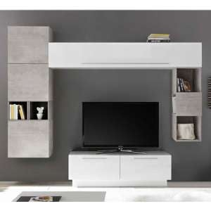Infra TV Stand With 5 Drawers In White Gloss And Cement Effect