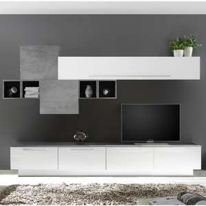 Infra TV Stand With 6 Drawers In White Gloss And Cement Effect