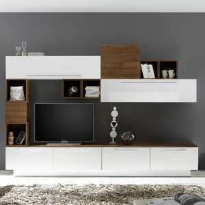 Infra TV Stand With 6 Drawers In White Gloss And Dark Walnut