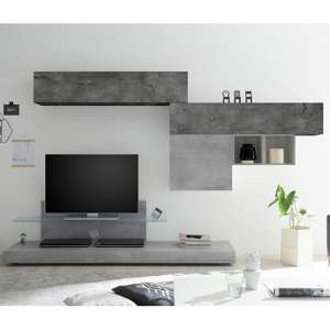 Infra TV Stand In Cement Effect And Oxide And Glass Shelf