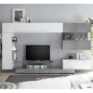 Infra Entertainment Unit In Cement Effect And White High Gloss