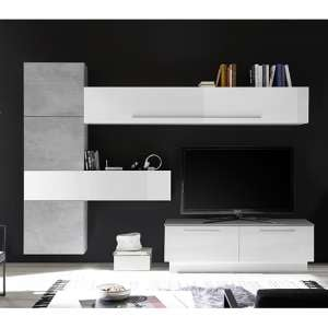 Infra TV Stand With Drawers In White Gloss And Cement Effect