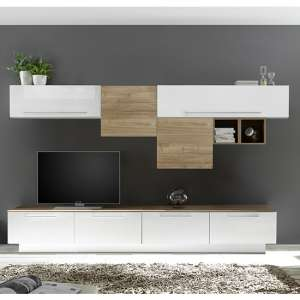 Infra TV Stand With Shelves In White Gloss And Stelvio Walnut