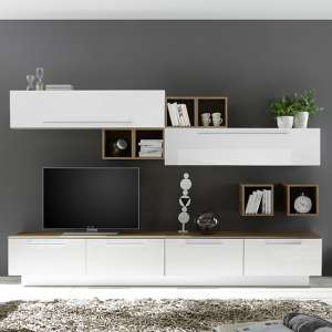 Infra White Gloss Entertainment Unit In Stelvio Walnut