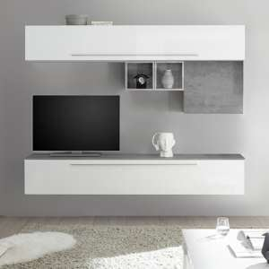 Infra White High Gloss Wall Entertainment Unit In Cement Effect
