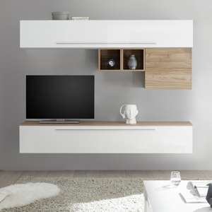 Infra Wall Entertainment Unit In Stelvio Walnut And White Gloss