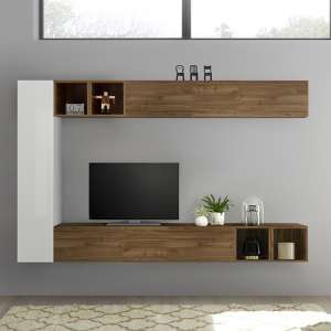 Infra White Gloss Wall TV Unit In Dark Walnut With 4 Shelves