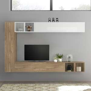 Infra White Gloss Wall TV Unit In Stelvio Walnut With 4 Shelves
