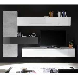 Infra Wooden TV Wall Unit In White And Grey High Gloss