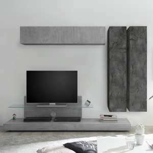 Infra TV Stand And Glass Shelf In Cement Effect And Oxide