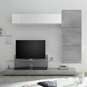 Infra TV Stand And Glass Shelf In White Gloss And Cement Effect