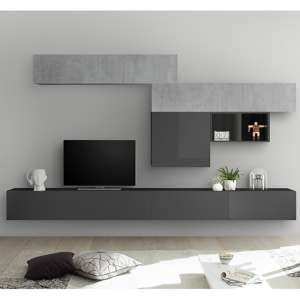 Infra Large Entertainment Unit In Grey Gloss And Cement Effect