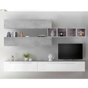 Infra Wall TV Unit With Shelves In White Gloss And Cement Effect