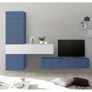 Infra Wall TV Unit With Storage In White High Gloss And Blue